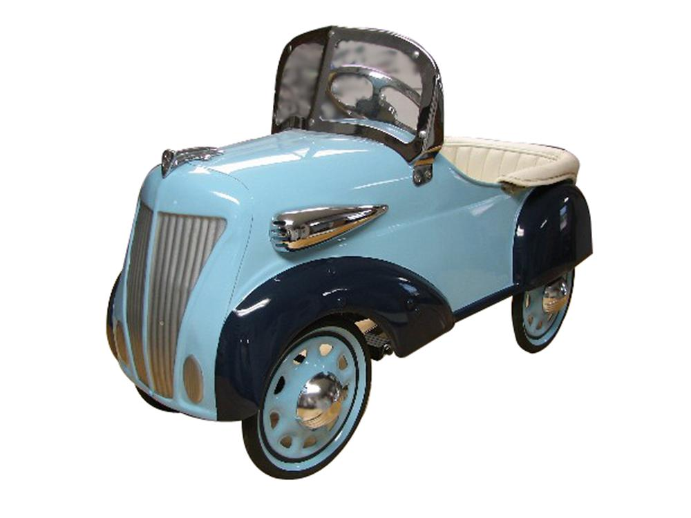 Stunning 1936 Ford pedal car by Steelcraft.  Wonderfully restored in two-tone blue with many chrome accents - Front 3/4 - 138883