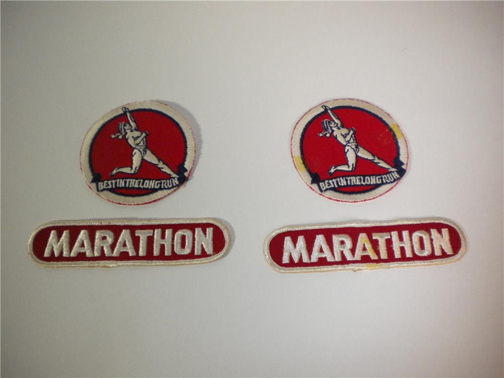 Lot of two sets of original Marathon Oil service station attendant patches. - Front 3/4 - 138886