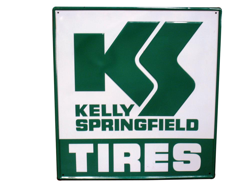 Sharp vintage Kelly Springfield Tires single-sided embossed tin automotive garage sign. - Front 3/4 - 138889