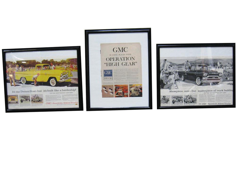 Set of three original GMC advertisements from the 1950s.  Presents framed. - Front 3/4 - 138891