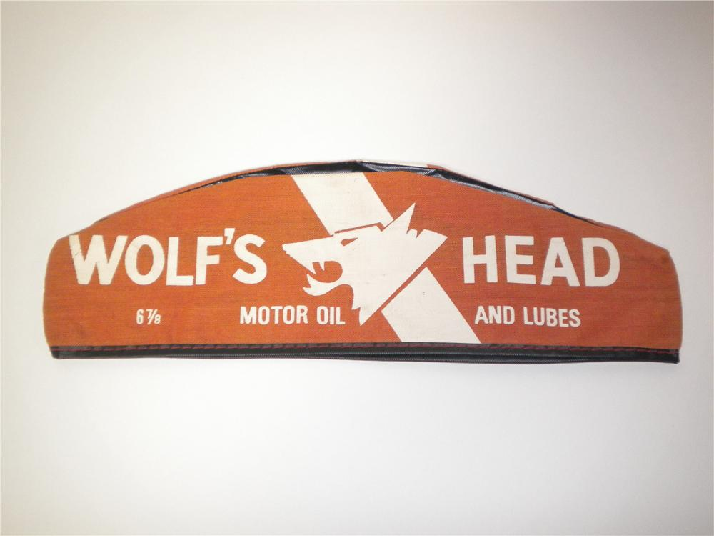 Choice vintage Wolfs Head Motor Oil service station mechanics hat. - Front 3/4 - 138896