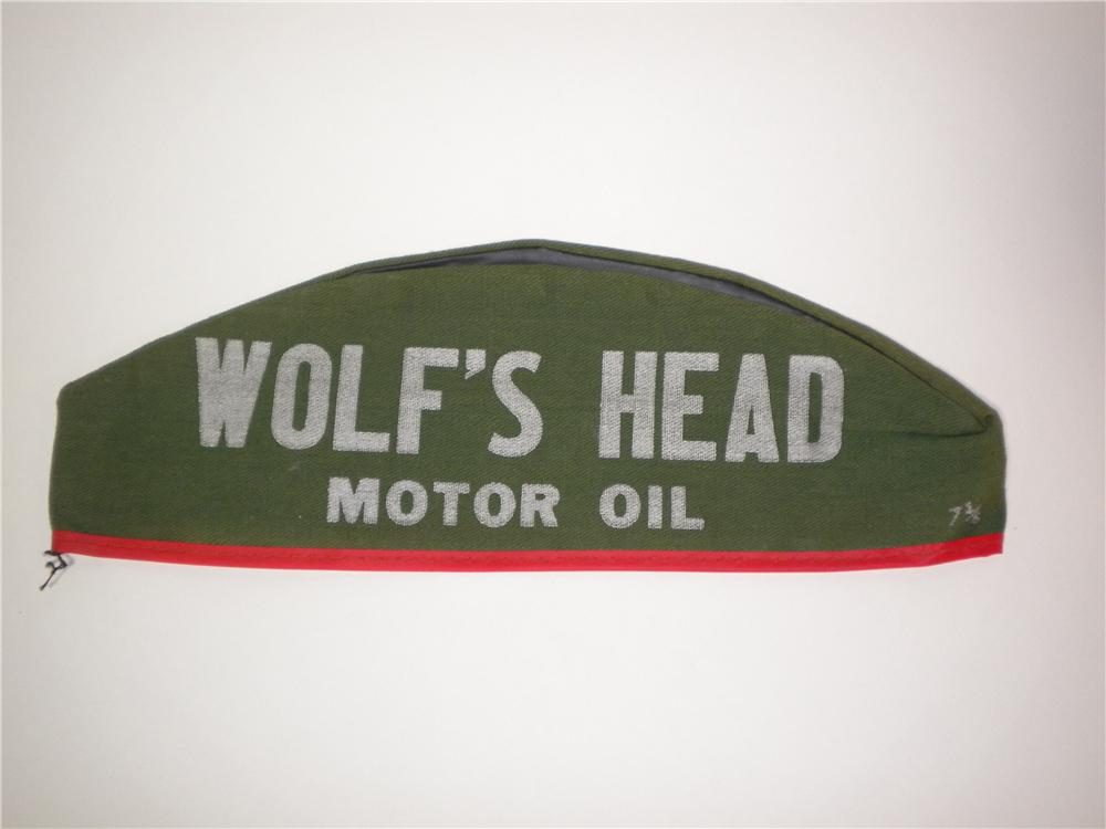 Sharp 1950s Wolfs Head Motor Oil service station mechanics hat. - Front 3/4 - 138897