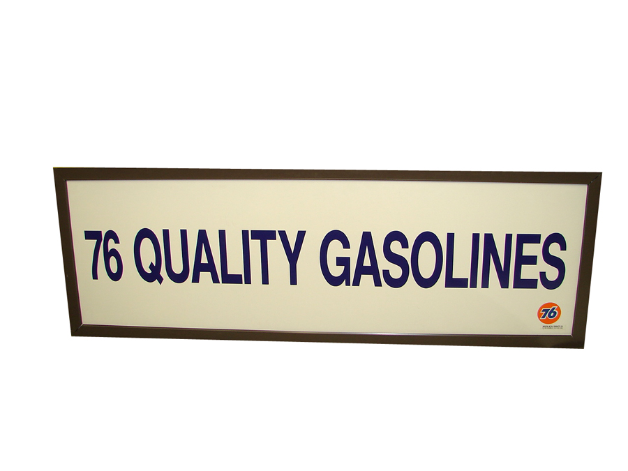 N.O.S. Union 76 Quality Gasoline single-sided horizontal garage sign. - Front 3/4 - 138905