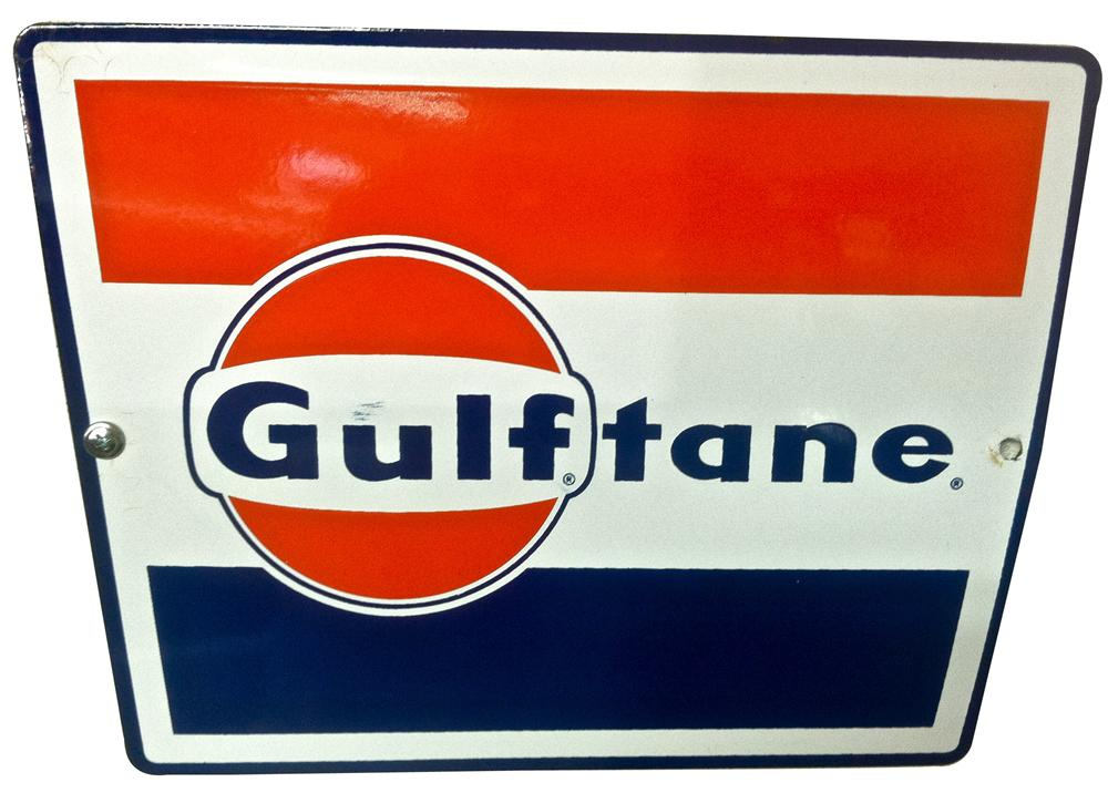 "Very nice 1950s-60s Gulf Oil ""Gulftane"" gas pump porcelain pump plate sign. - Front 3/4 - 138908"