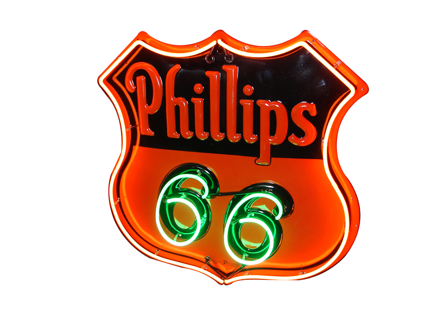 "Wonderful 1930s Phillips 66 single-sided neon porcelain service station sign with embossed lettering. ""66"" neon blinks on/off. - Front 3/4 - 138915"