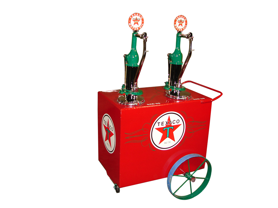 Stunning 1920s-30s Texaco Oil filling station dual head hand crank oil lubester cart on wheel. - Front 3/4 - 138916