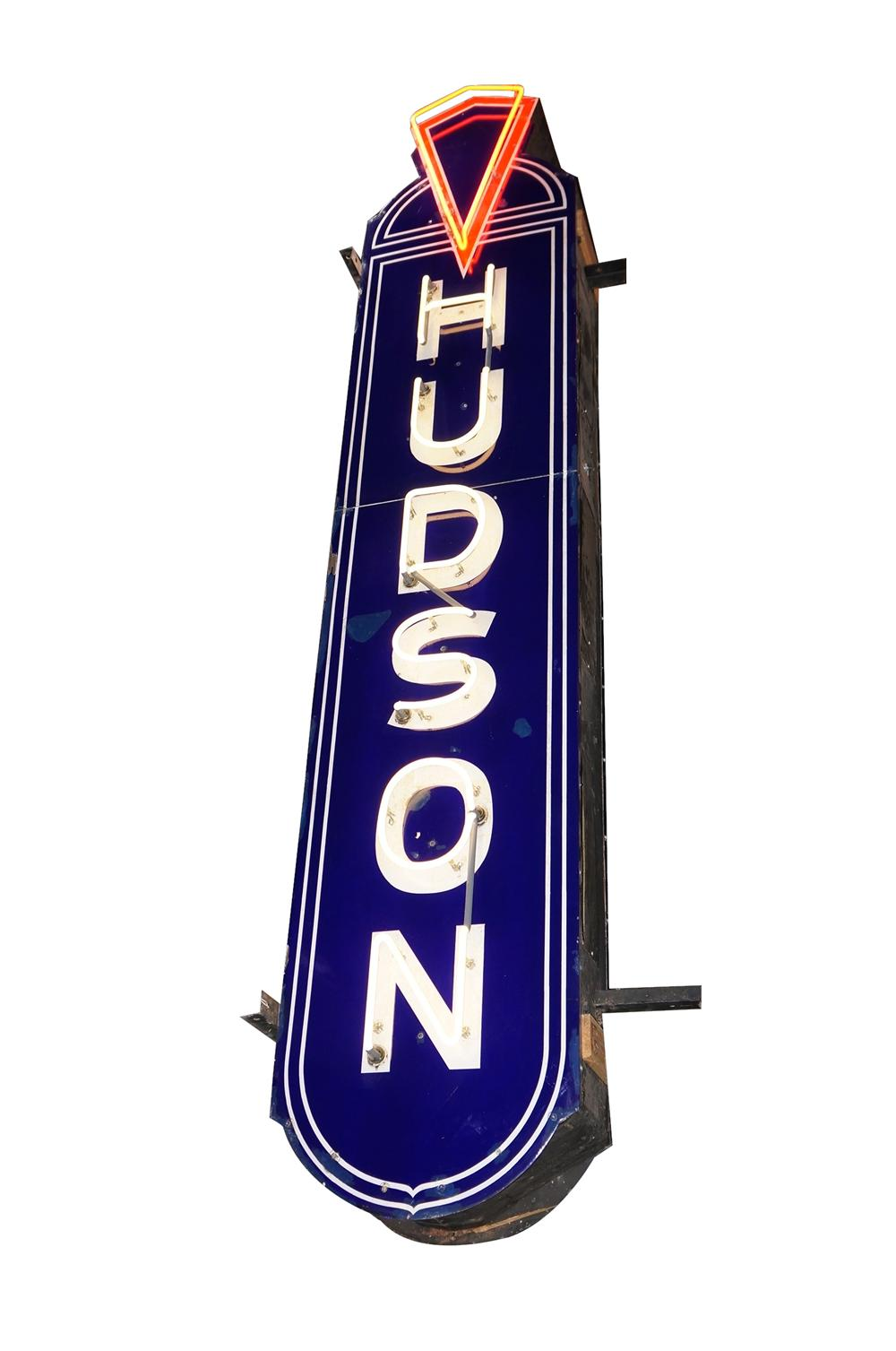Nearly impossible to find 1930s-40s Hudson Automobiles double-sided neon porcelain dealership sign. - Front 3/4 - 138919