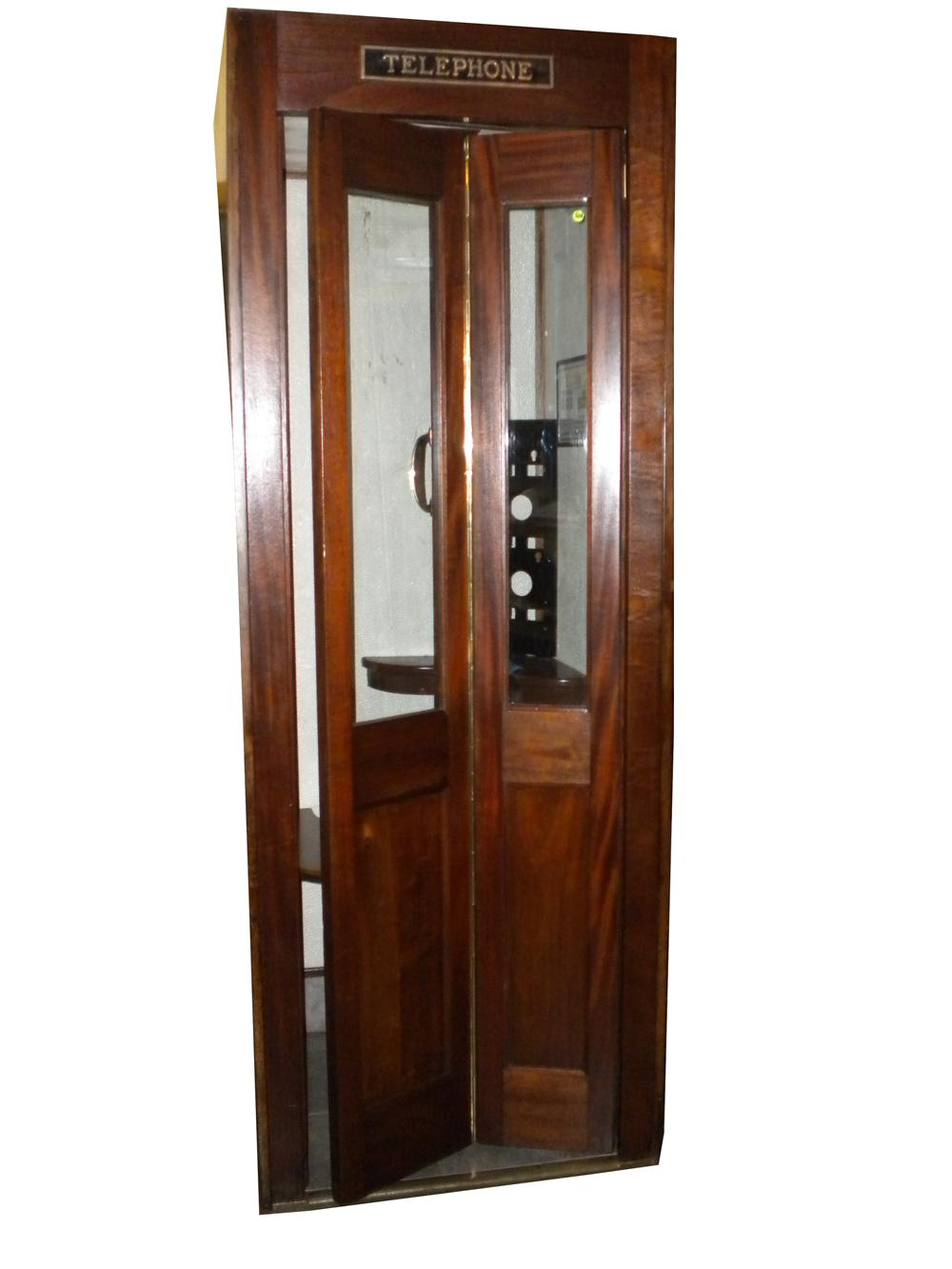 Splendid 1930s restored wood Public Telephone booth complete with working light and pay phone. - Front 3/4 - 138921