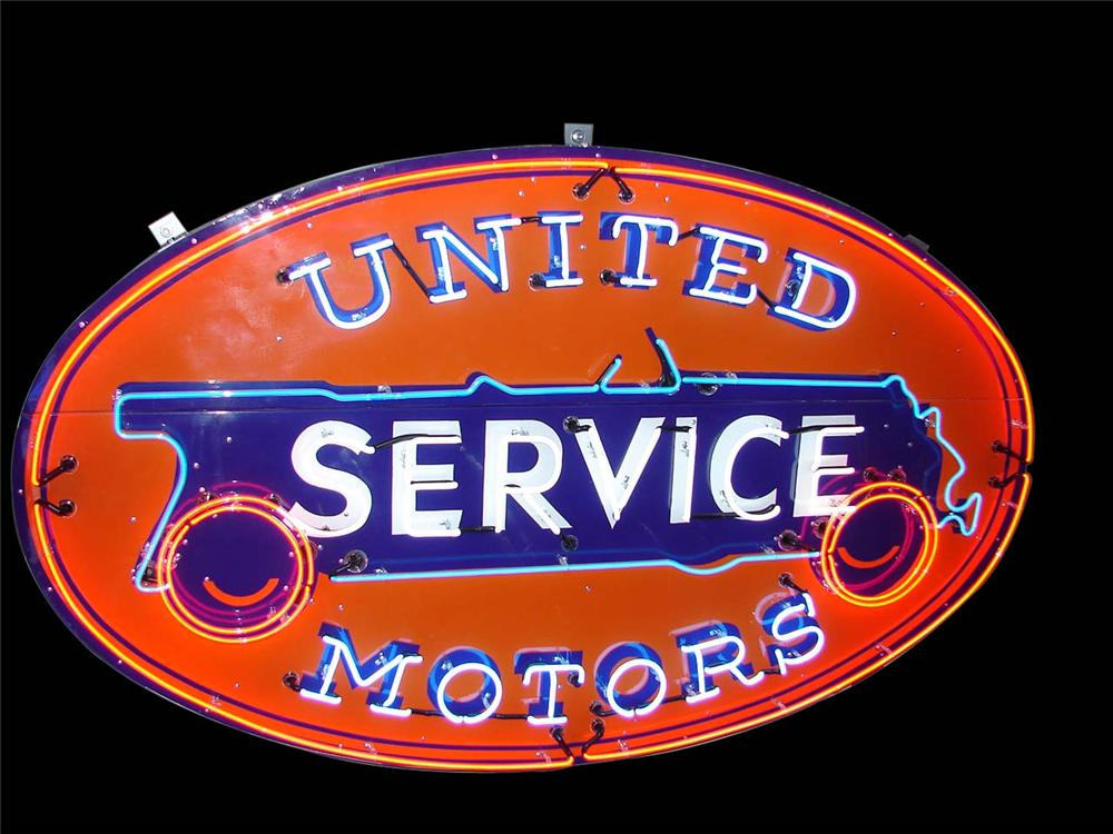 Ultra rare large 1930s United Service single-sided neon porcelain dealership sign with animated neon. - Front 3/4 - 138926