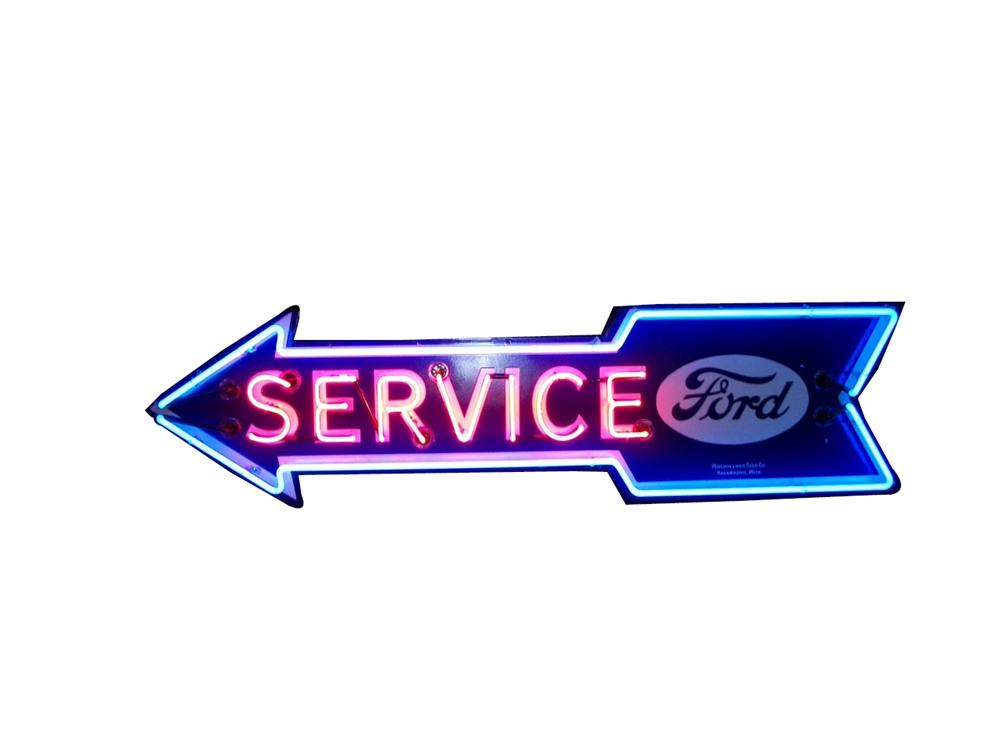 Killer 1930s-40s Ford Service single-sided neon porcelain arrow shaped dealership sign. - Front 3/4 - 139522