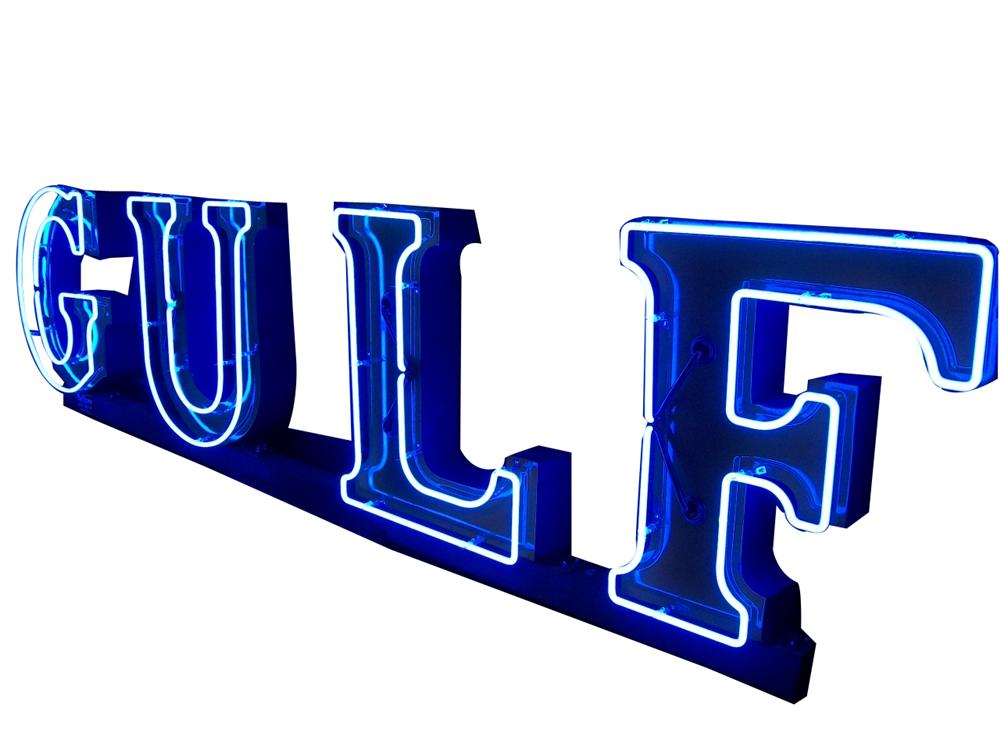 Phenomenal 1940s-50s Gulf Oil neon porcelain service station sign with three dimensional letters. - Front 3/4 - 139523