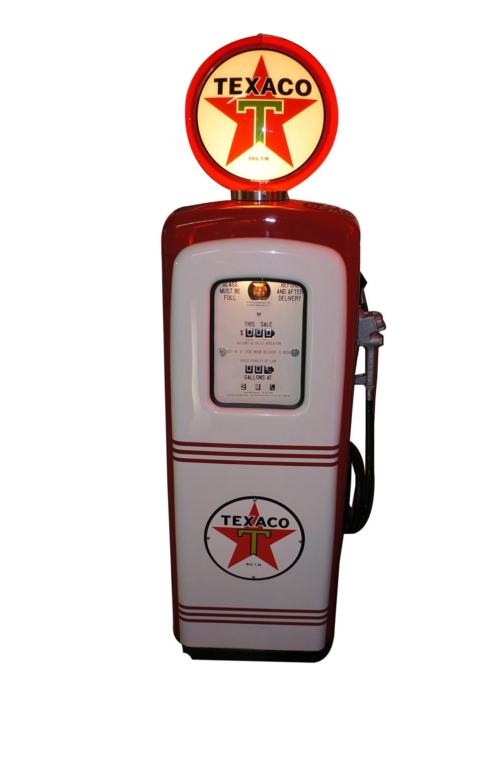 Good looking 1948 Texaco Oil M/S 80 restored service station gas pump. - Front 3/4 - 139524