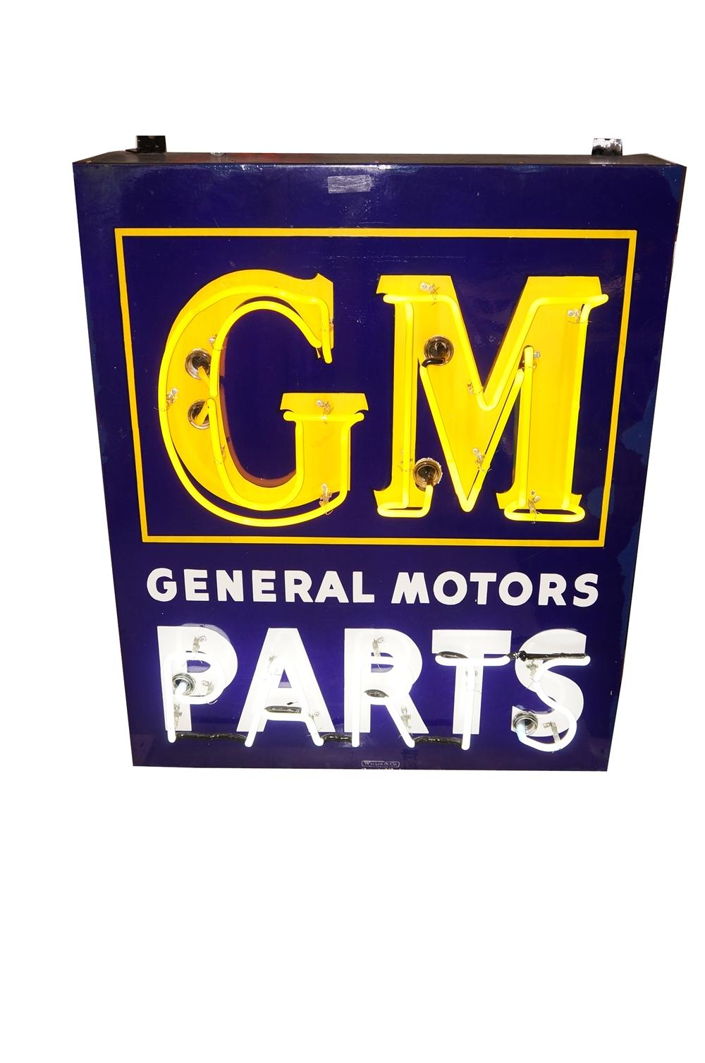 Striking 1940s 50s Gm General Motors Parts Single Sided Neon 139528