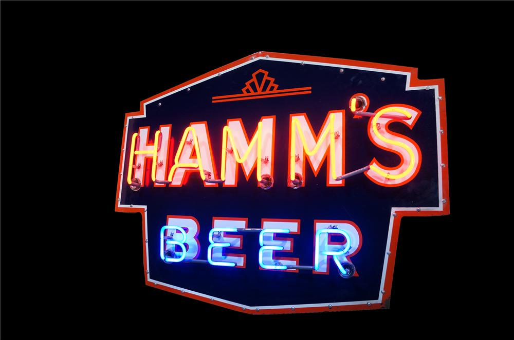Incredible 1930s Hamms Beer single-sided neon porcelain tavern sign.  Immensely clean! - Front 3/4 - 139529