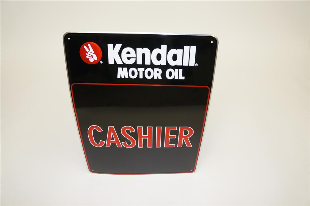 "N.O.S. Kendall Motor Oil ""Cashier"" embossed tin garage sign. - Front 3/4 - 139534"