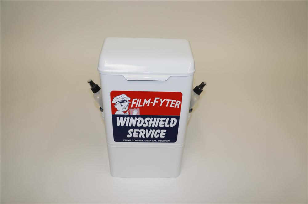 Nifty 1950s-60s Film-Fyter service station fuel island windshield service cabinet-paper towel dispenser. - Front 3/4 - 139538
