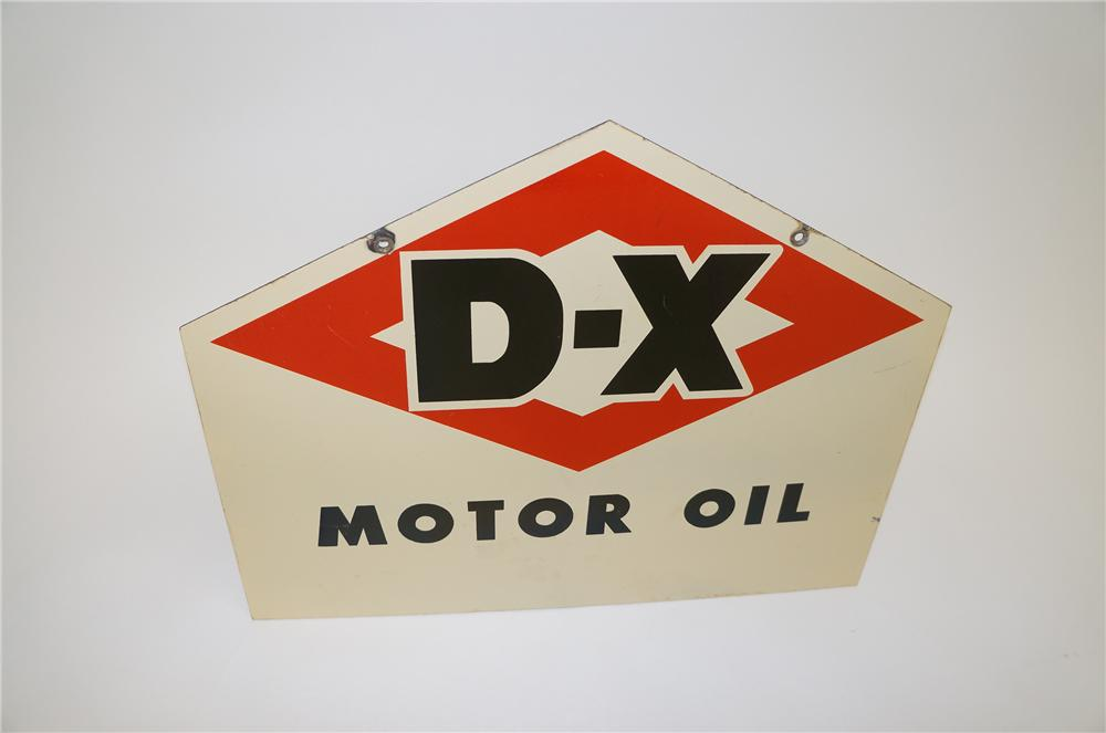 Hard to find 1950s DX Motor Oil double-sided porcelain service station sign. - Front 3/4 - 139539