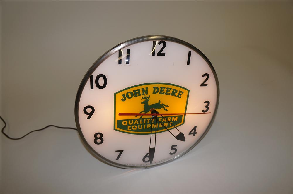 Extremely hard to find 1950s John Deere Quality Farm Equipment glass faced light-up dealership clock. - Front 3/4 - 139545