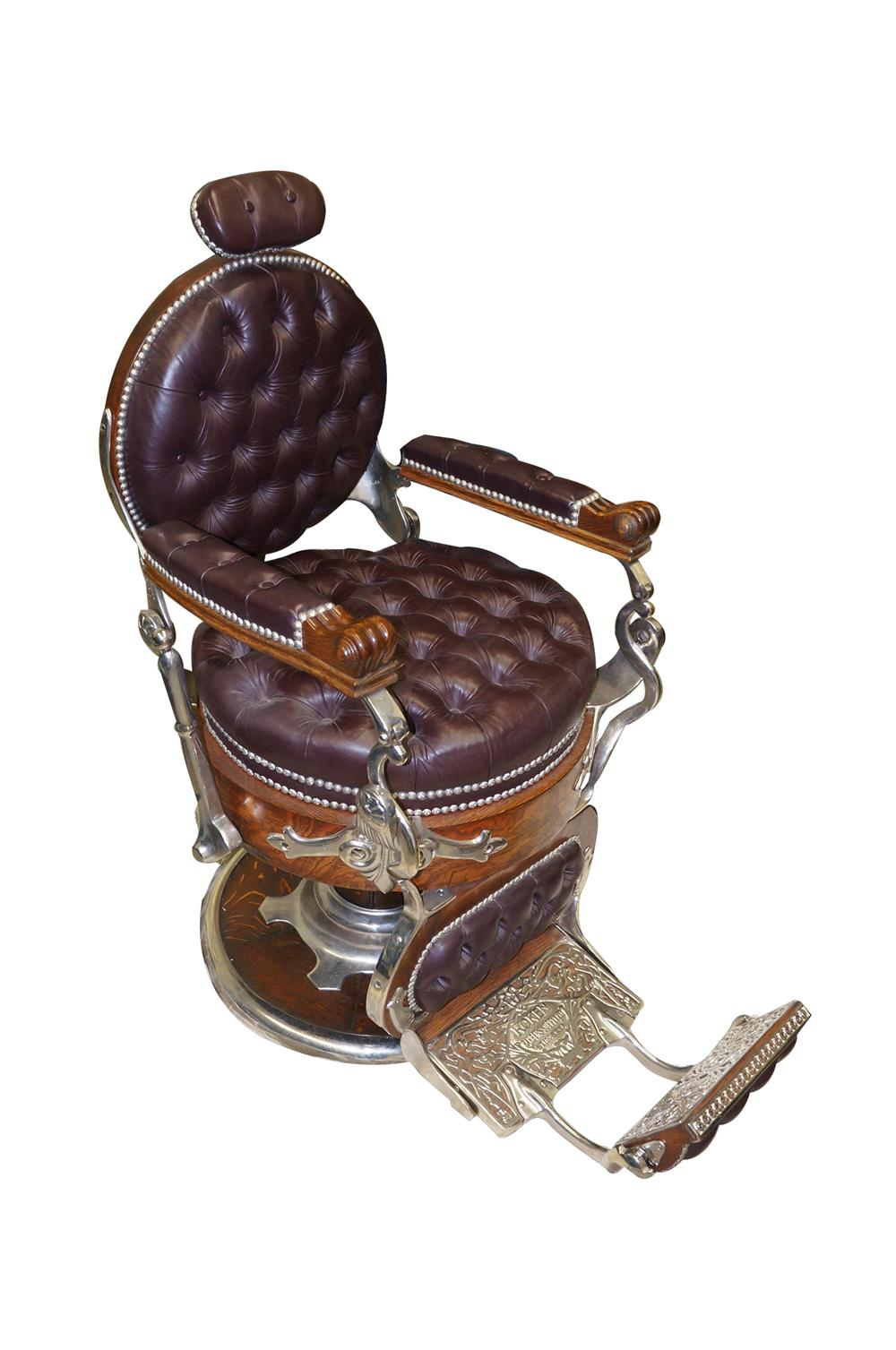 "Superlative  turn of the century restored Koken ""Congress"" model wooden barber chair. - Front 3/4 - 139548"