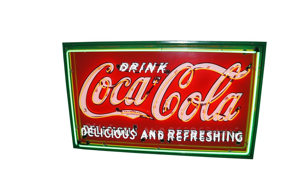 "Impressive 1932 Drink Coca-Cola ""Delicious and Refreshing"" fountain service porcelain sign with neon. - Front 3/4 - 139551"