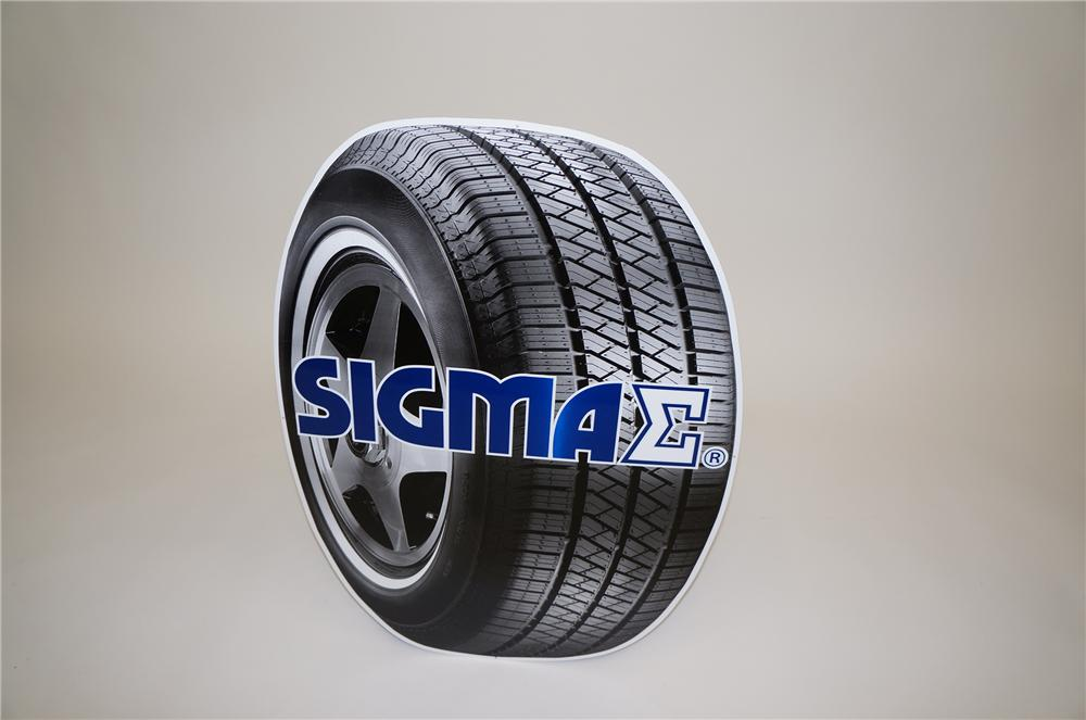 N.O.S. Sigma Tires die-cut tin tire-shaped garage sign.  Pulled out of the original shipping paper. - Front 3/4 - 139555