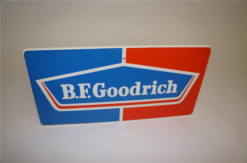 N.O.S. 1960s BF Goodrich Horizontal tin garage sign. - Front 3/4 - 139559
