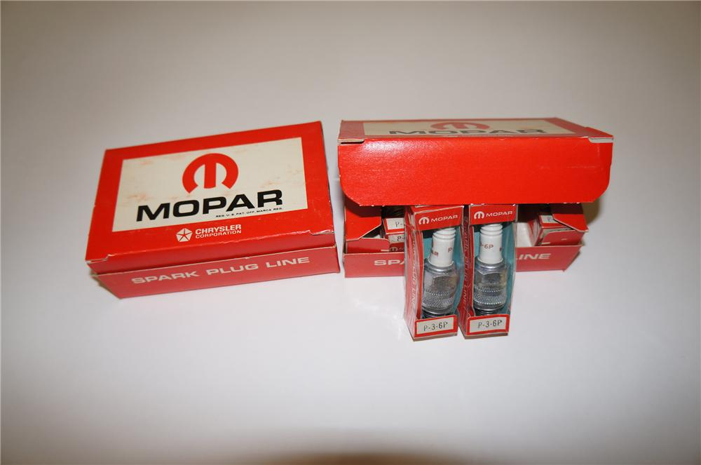 Lot of two vintage Mopar Spark Plugs service department display boxes filled with never used plugs. - Front 3/4 - 139560