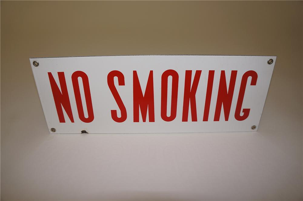 "1940s service station ""No Smoking"" fuel island porcelain sign. - Front 3/4 - 139561"