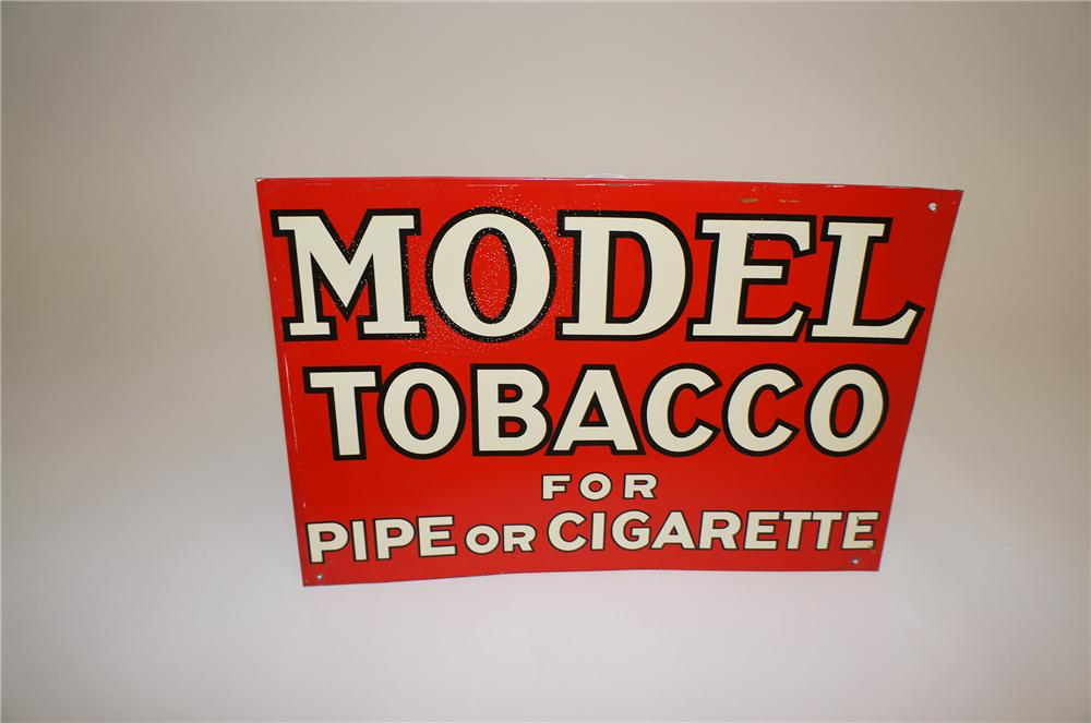 "1930s Model Tobacco ""For Pipe or Cigarette"" tin painted general store sign. - Front 3/4 - 139562"
