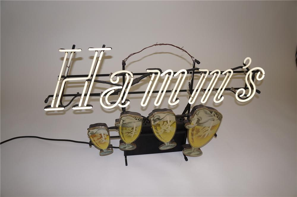 """Highly desirable 1950s Hamms Beer """"Dancing Mugs"""" neon tavern sign. - Front 3/4 - 139565"""