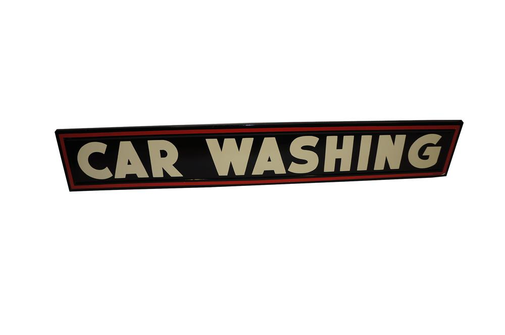 "Impressive 1940s-50s DX Oil service station ""Car Washing"" horizontal porcelain garage sign. - Front 3/4 - 139569"