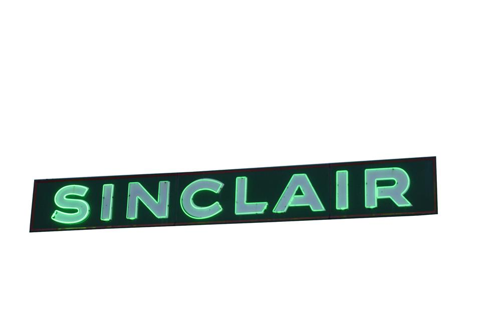 Nicely restored 1930s-40s Sinclair Oil single-sided porcelain station sign with neon. - Front 3/4 - 139570