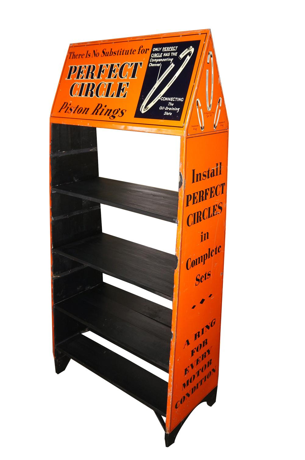 Museum quality 1930s Perfect Circle Piston Rings automotive garage double-sided tin garage display. - Front 3/4 - 139571