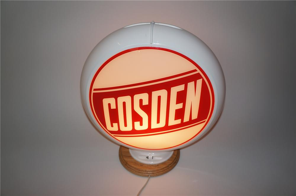 Sharp 1950s Cosden Gasoline glass lens gas pump globe in Capcolite body. - Front 3/4 - 139575