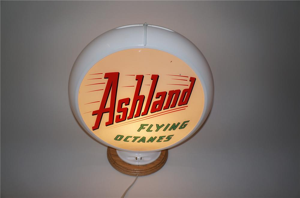 Fantastic 1950s Ashland Flying Octanes Gasoline glass lens gas pump globe in Capcolite body. - Front 3/4 - 139576