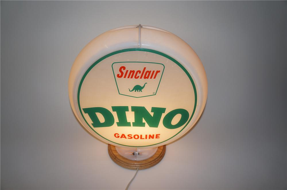 "Late 1950s Sinclair ""Dino"" Gasoline glass lens gas pump globe with Dino logo. - Front 3/4 - 139577"