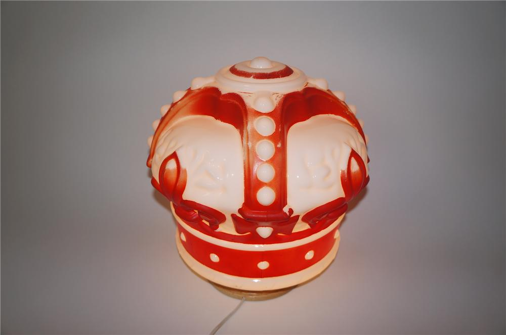1930s-40s Standard Oil Red Crown Gasoline one-piece milk-glass gas pump globe. - Front 3/4 - 139578
