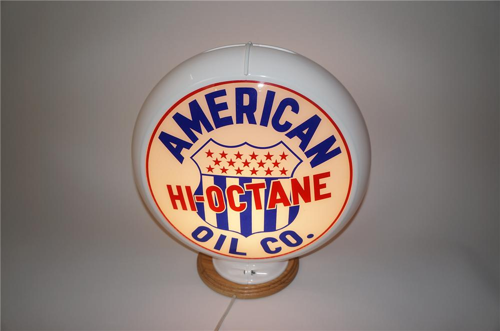 Highly desirable 1950s American Oil High-Octane Gasoline plastic bodied gas pump globe. - Front 3/4 - 139581
