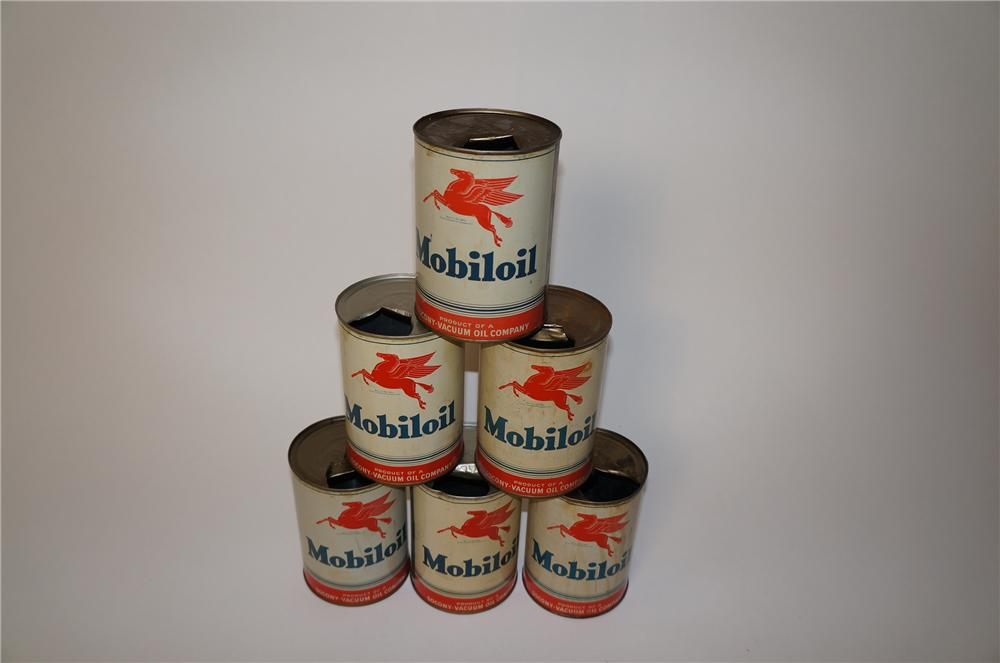 Lot of six 1950s Mobil Oil metal quart cans with Pegasus logo. - Front 3/4 - 139585