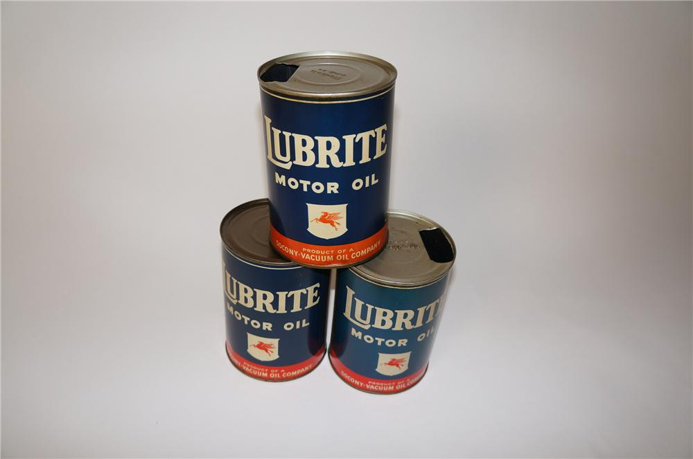 Lot of three hard to find 1940s Mobil Lubrite Oil metal quart cans. - Front 3/4 - 139602