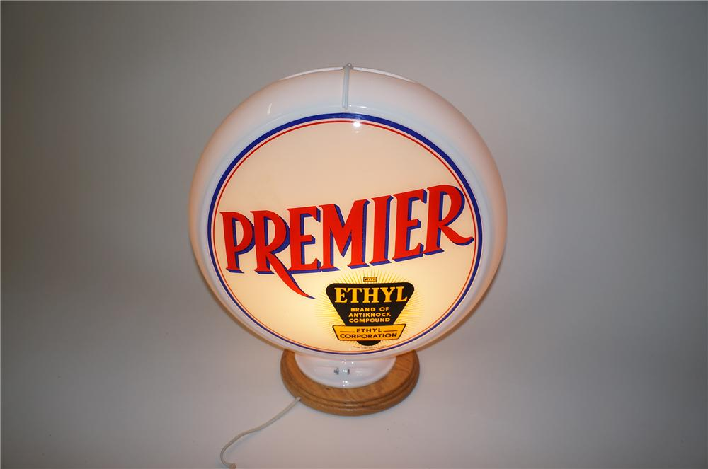 Wonderful 1950s Premier with Ethyl gasoline glass lens gas pump globe in Capcolite body. - Front 3/4 - 139604