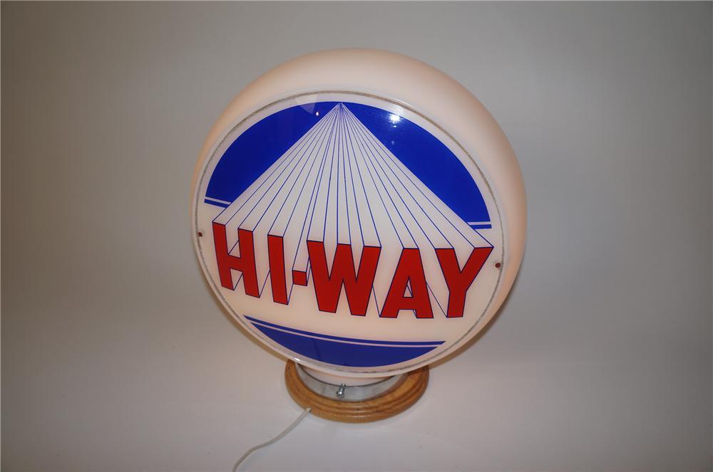 Good looking 1940s-50s Hi-Way Gasolne wide-bodied glass gas pump globe. - Front 3/4 - 139605