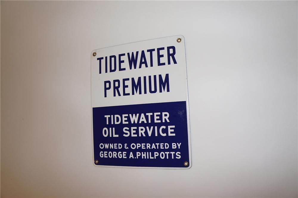 Extremely hard to find 1950s Tidewater Premium Gasoline single-sided porcelain pump plate sign. - Front 3/4 - 139608