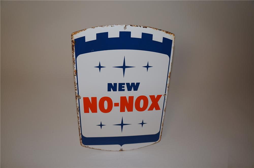 Nifty late 1950s-early 60s Gulf Oil No-Nox porcelain pump plate sign. - Front 3/4 - 139609