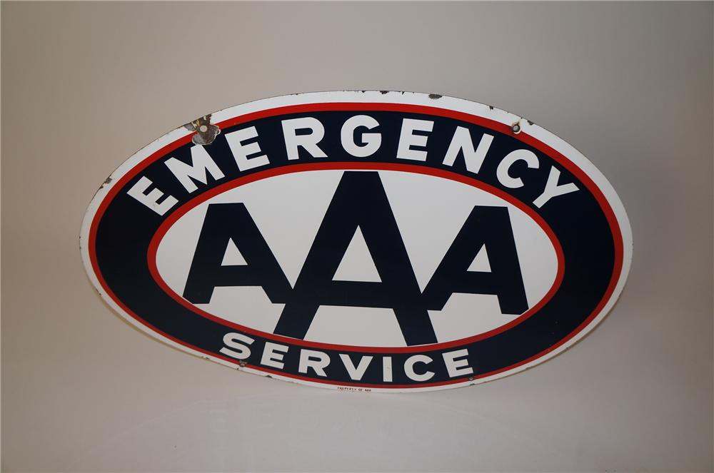 Nifty 1950s Triple A Emergency Service double-sided porcelain automotive garage sign. - Front 3/4 - 139612