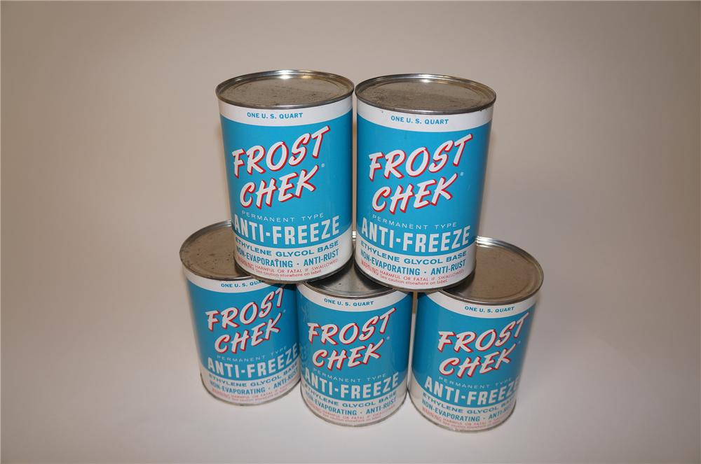 Choice lot of six 1950s Frost Check Anti-Freeze metal quart cans. - Front 3/4 - 139618