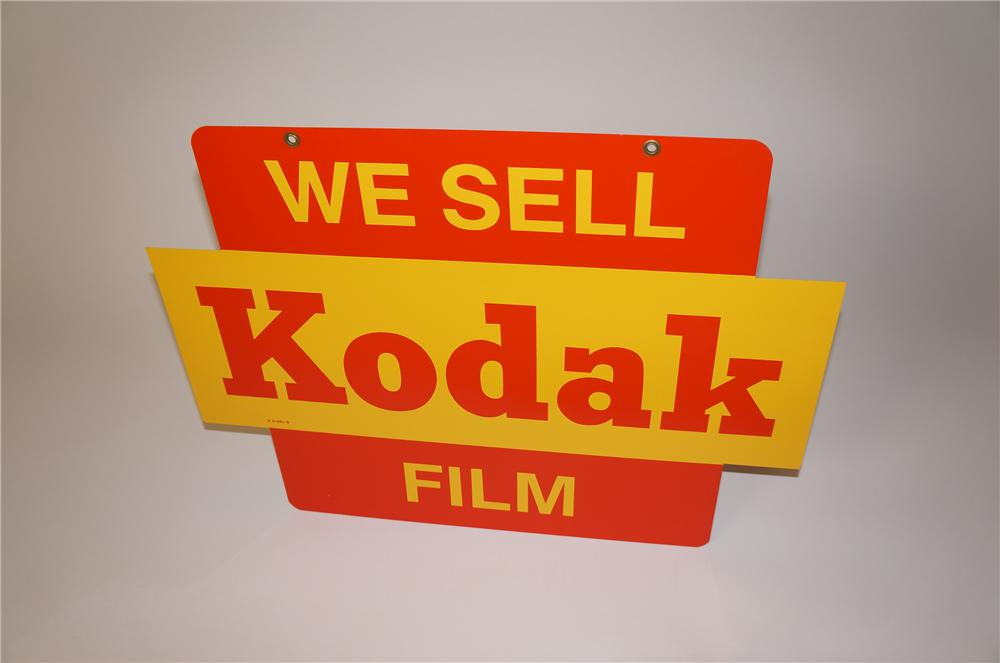 Hard to find circa 1950s  N.O.S. We Sell Kodak Film double-sided tin painted sign. - Front 3/4 - 139620
