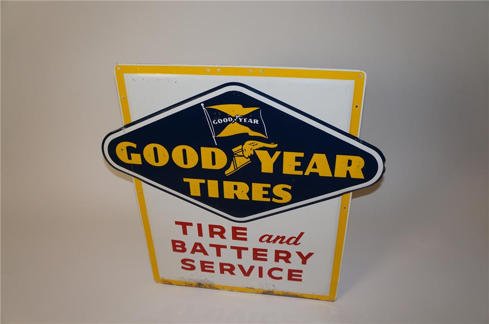 "1950s Goodyear Tires ""Tire and Battery Service"" embossed tin garage sign. - Front 3/4 - 139622"