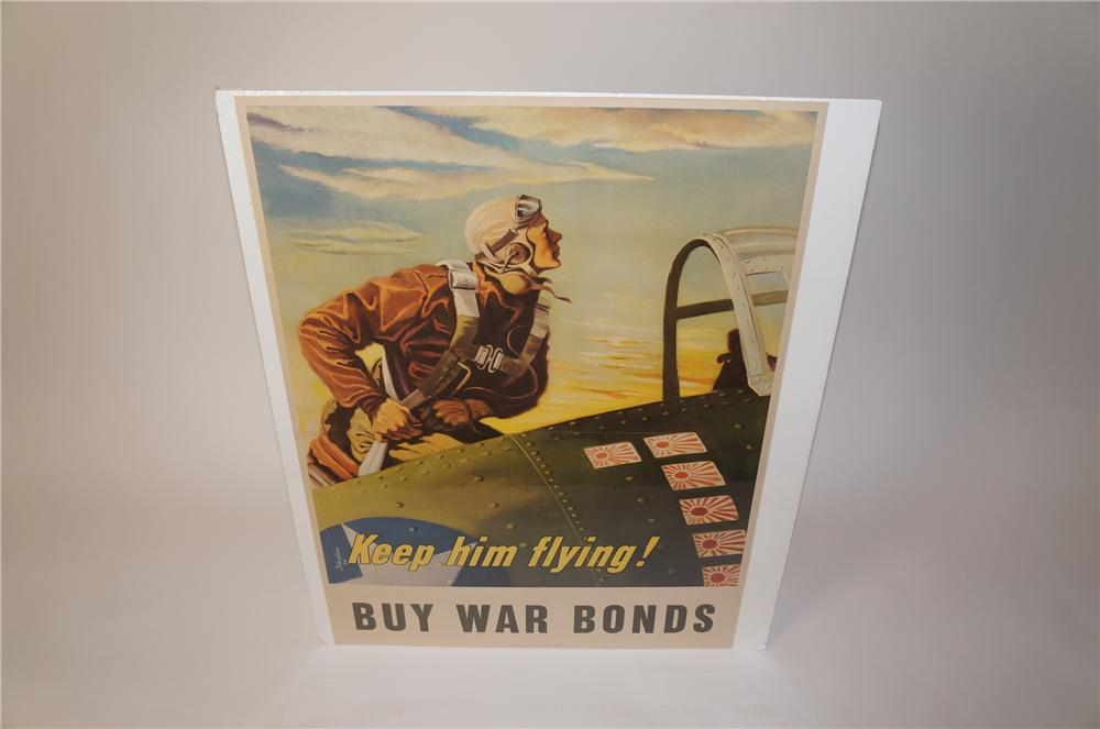 "Striking World War II ""Keep Him Flying - Buy War Bonds"" aviator poster. - Front 3/4 - 139623"