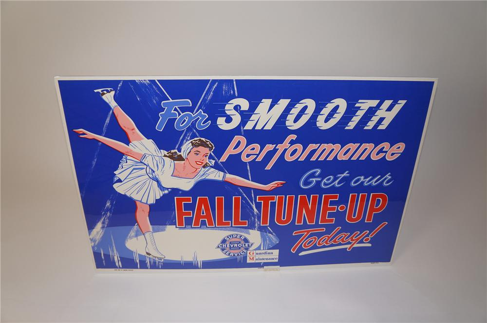 "Wonderful 1959 Chevrolet ""Fall Tune-Up"" service department poster with skating girl motif. - Front 3/4 - 139624"